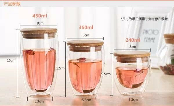 Durable High Borosilicate Drinking Glass Water Cup Double Wall For Coffee Handblown