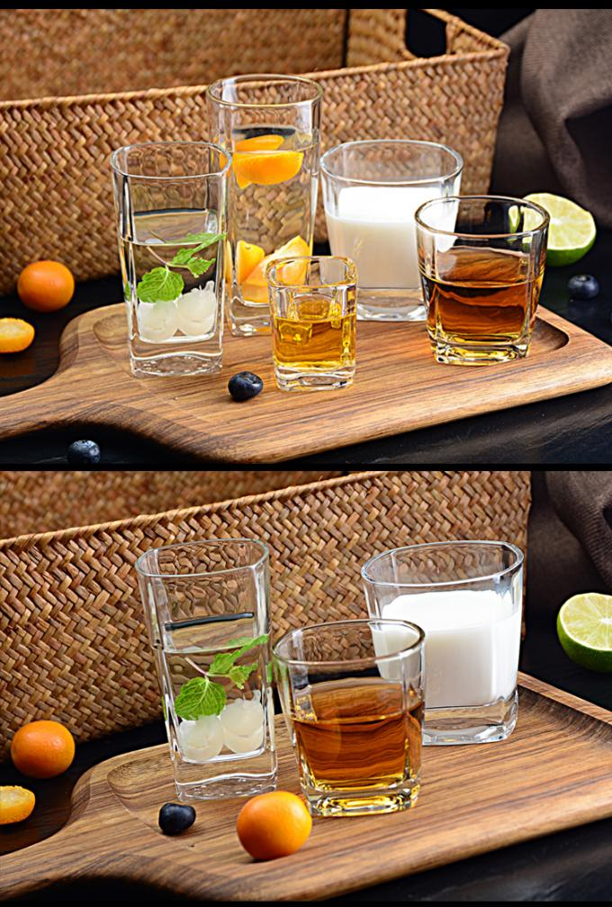 Round Tea Whiskey Glass Cups Square Glass Water Cup CIQ EEC Approved Transparent