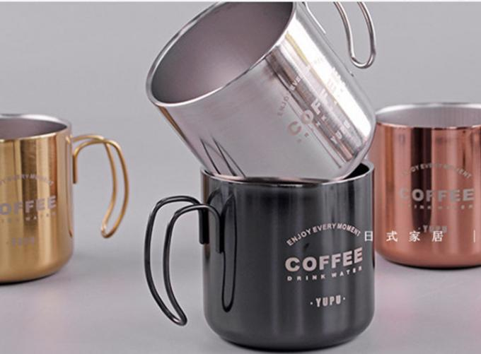 Special Design Vacuum 304 Stainless Coffee Cup With Plastic Lid / Iron Handle