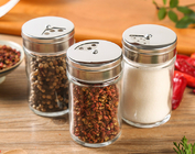 China Lead Free Pepper Glass Spice Jar Kitchen Custom Logo With Stainless Steel Lid factory