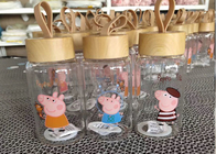 China Peppa Pig Glass Bottle Double Wall Coffee Glass / Borosilicate Glass Cup factory