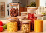 China Large Glass Storage Jars With Wood Lid / High Borosilicate Glass Jars factory