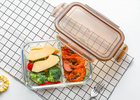 China Storage Glass Food Container With Lid / Glass Crisper / Microwave Glass Bowl factory