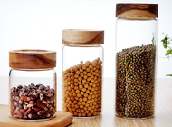 China Clear Custom Glass Food Storage Jars For Beans With Wood Lid , Longlife company