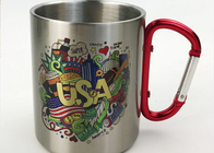 China 350ml Stainless Water Cup With Carabiner / Stainless Steel Cups Color Logo Customized factory