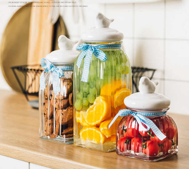 Durable Glass Jar With Ceramic Lid Ribbon Lead Free Glass Cereal