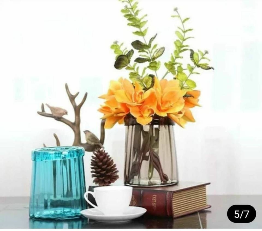 Blue Solid Standing Decorative Glass Vases Handmade For Flower House