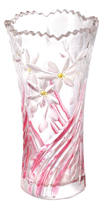 Sweet Pink Wedding Decorative Colored Glass Vases Orchid Pattern