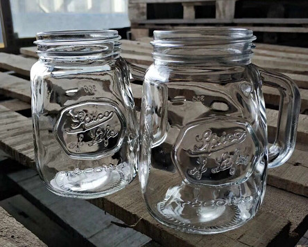 Beverage 350ml Glass Storage Jars / Custom Logo Irregular Glass Drinking Jars