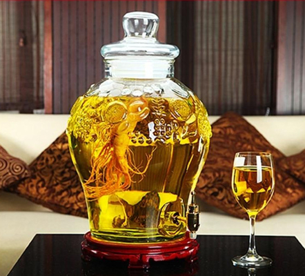 25L Beer Glass Jar Container With Faucet Lid Large Size For Waxberry Wine