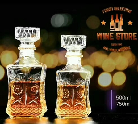 Stock Glass Decanters Whiskey Glass Bottle Sets 500ml For Drinking Bar Shop