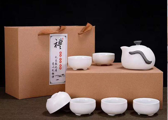 White Color Home 7 Pcs Ceramic Tea Cup Set / Teapot Set With Gift Packing