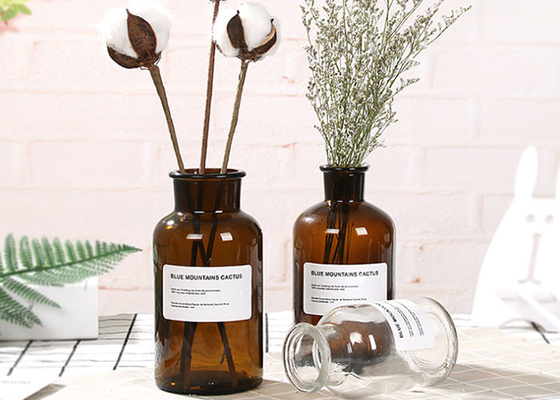 Machine Made Glass Brown Bottle Decorative Glass Vases For Flower / Ins Popular