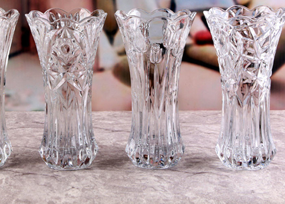 Stock Flower Decorative Glass Vases / Transparent Small Coloured Glass Vases