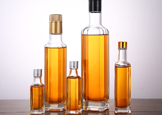 Transparent Glass Oil Bottles Varity Capacity , Crystal Glass Camellia Oil Bottle