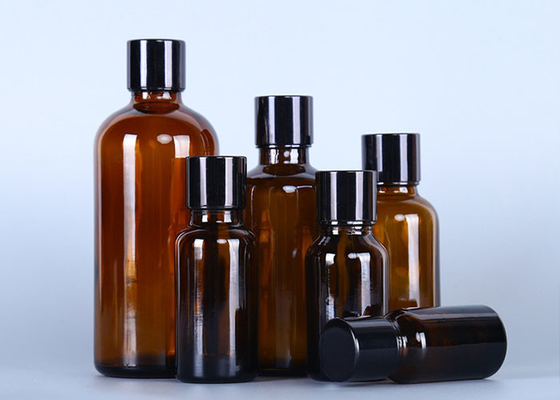 Brown Small Glass Oil Bottles , Essential Oil Glass Bottles With Various Lid