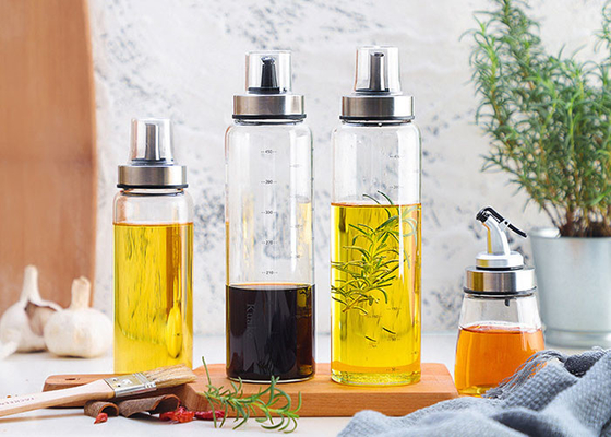High Borosilicate Decorative Glass Oil Bottles For Kitchen And Desk Use
