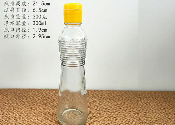 500ml Transparent Glass Bottle For Oil / Glass Vinegar Bottles With Spiral Lid