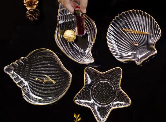 Shell Shape Clear Glass Fruit Bowl / Small Glass Fruit Dishes Eco - Friendly