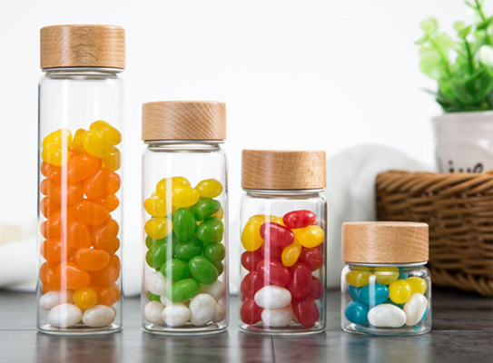 500ml Glass Storage Jars With Wood Lid / Transparent Glass Candy Jars In Bulk