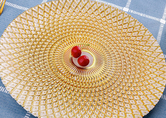 Pineapple Pattern Orange Color Glass Fruit Plate / Plating Plate Use On Bar