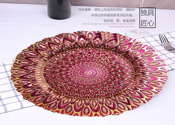 Handmade Peacock Plating Glass Fruit Plate / Round Glass Plate For Bread